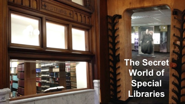 """The Title Slide of """"The Secret World of Special Libraries"""""""