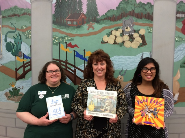 Misti Tidman, Babette Wofter & Sofialyn Durasan with their favorites children's books.