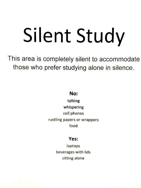CSCC Library Silent Study Room Sign
