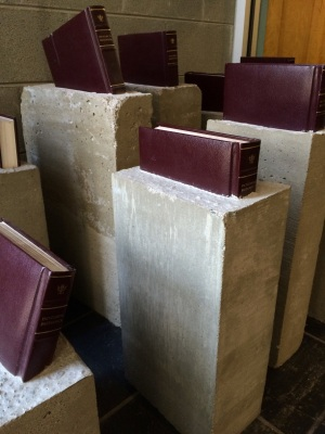 An art installation of Encyclopedia Britannica encased in cement just before entering the Packard Library.