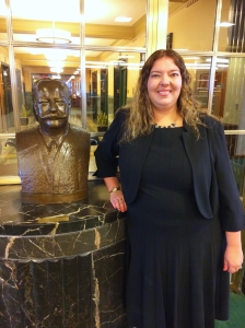 Erin Waltz and the bust of President William Howard Taft