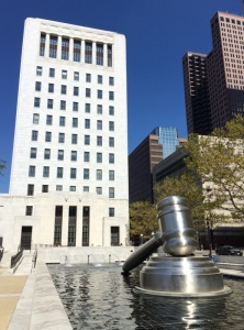 A veranda, reflecting pool and the world's largest gavel stainless steel sculpture are adjacent to the Ohio Supreme Court building