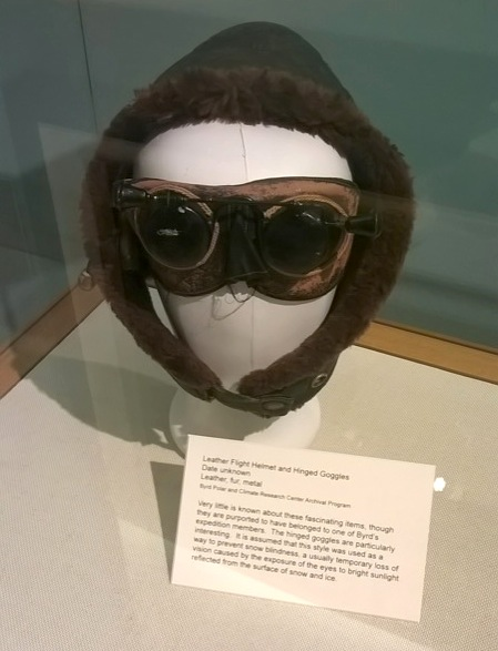 Leather flight helmet and hinged goggles