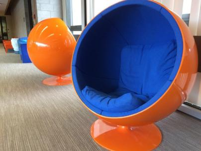 Womb chairs overlooking campus