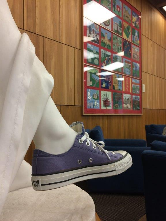 The Reading Girl sculpture, in new school-year duds